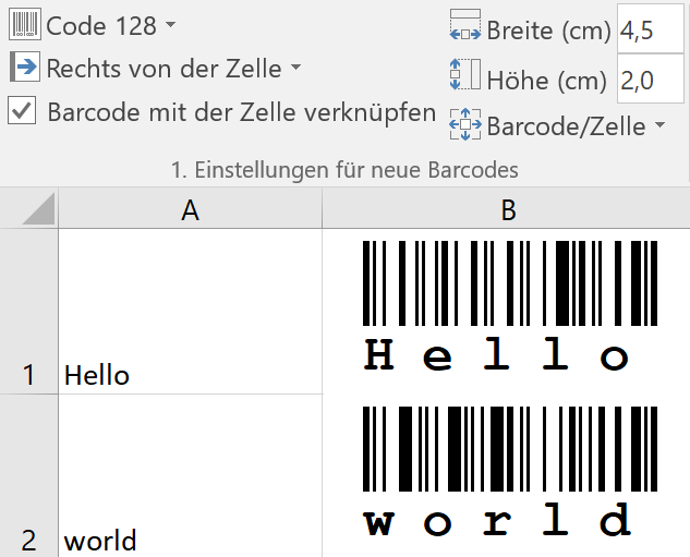 Excel Add-In - Barcode Software