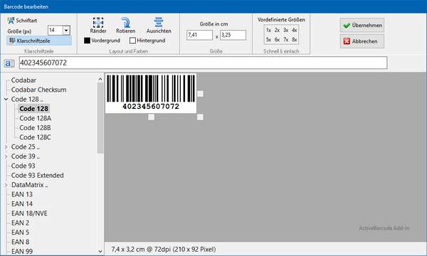 Add-In Barcode Dialog
