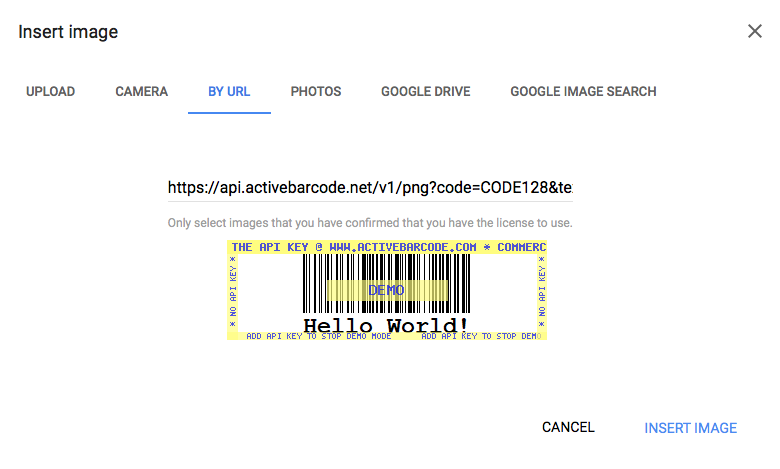 Use ActiveBarcode REST API URL @ Google Forms